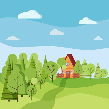 Summer or spring landscape with cartoon country house with fences, green trees, spruces, clouds, road in flat style. Vector background illustration.