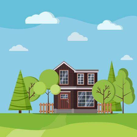 Summer or spring landscape with farm two-storied house with fences, green trees, spruces, clouds, road in cartoon flat style. Vector nature background illustration.