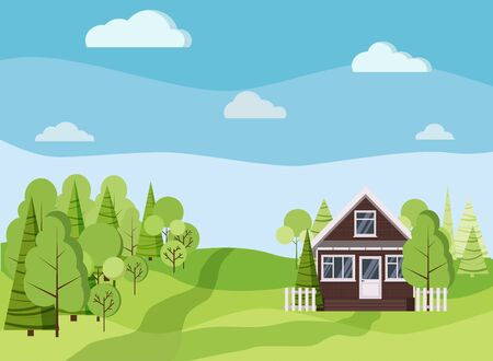 Summer or spring landscape background with country farm brick house, green trees, spruces, fields, clouds, road in cartoon flat style. Summer scene vector illustration.
