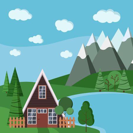 Scène de paysage d'été ou de printemps avec une maison à ossature avec clôtures, arbres verts, épicéa, nuages, route, montagnes et lac dans un style plat de dessin animé. Illustration de fond de paysage de vecteur tranauil.