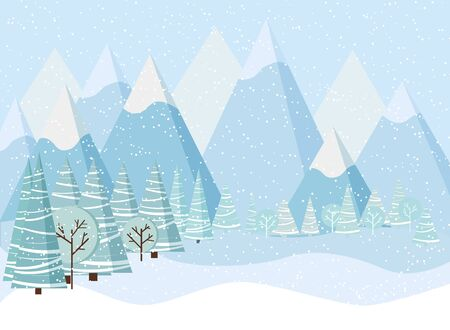 Beautiful Christmas winter landscape background with mountains, snow, trees, spruces in cartoon flat style. Vector illustration.