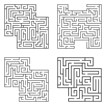 Conjunto de cuatro laberintos negros aislados, complejidad que comienza laberinto sobre fondo blanco. Ilustración vectorial.