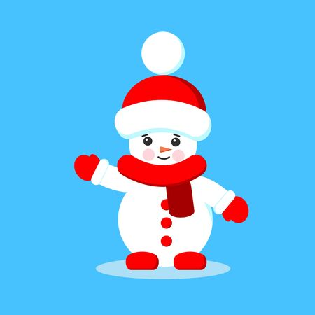 Little snowman Christmas vector illustration. Isolated cute cartoon snowman in red scarf, mittens and hat in flat style.