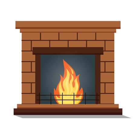 Fireplace icon isolated. Comfortable cozy warm fireplace flame bright winter Christmas decoration interior. Vector illustration in a cartoon flat style