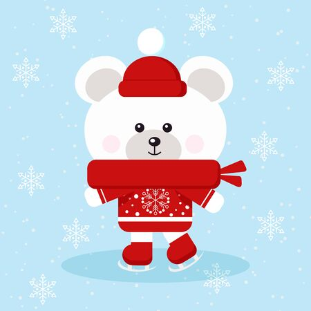 Isolated cute christmas polar bear with red sweater, scarf and hat skates on ice in snow background in cartoon flat style. Vector illustration.