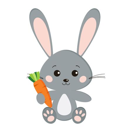 Image of sweet cute grey bunny rabbit in sitting pose with carrot in paw isolated on white background in cartoon style. Vector flat design characteres illustration. Vectores