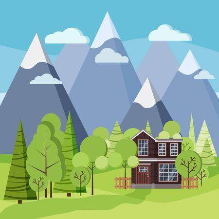 Scène de paysage de printemps ou d'été avec maison de campagne à deux étages avec clôture, arbres verts, épicéas, champs, nuages, montagnes en style cartoon plat. Illustration de fond de vecteur de scène de nature d'été.