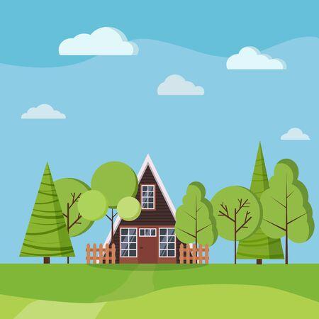 Paysage d'été ou de printemps avec petite maison à ossature en a avec clôtures, arbres verts, épicéas, nuages, route, champs en style cartoon plat. Illustration de fond nature vectorielle. Vecteurs