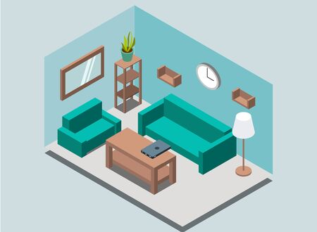 Cozy home living-room interior background with book shelves, rack, lamp, plant, armchair, sofa, wall clock, mirror, table, laptop in isometric style. Vector illustration. Ilustración de vector