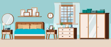 Bedroom with furniture and window view of winter landscape with frozen lake. Wardrobe with mirror, bed, nightstand, chest of drawers, watch, alarm clock, lamp. Flat style cartoon vector illustration.