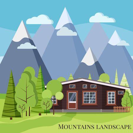 Scène de nature de paysage de montagne de printemps ou d'été avec maison de ferme rurale en bois, clôtures, arbres verts, épicéas, nuages, montagnes, route en style dessin animé. Illustration de fond vecteur design plat. Vecteurs