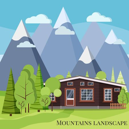 Spring or summer mountain landscape nature scene with rural wooden farm house, fences, green trees, spruces, clouds, mountains, road in cartoon style. Flat design vector background illustration.