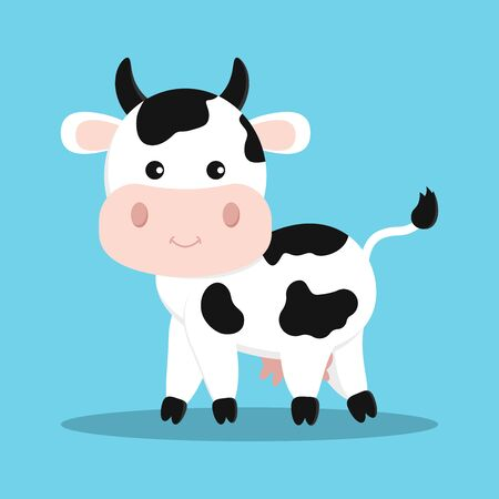Cute and sweet white cow with black spots. Animal character icon isolated on blue background. Milk, dairy, farm product, children design element. Vector illustration in cartoon flat style.  イラスト・ベクター素材