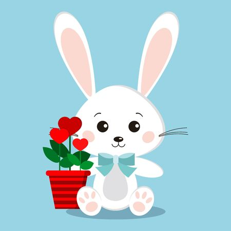 Isolated cute and sweet white rabbit bunny in sitting pose with blue bow tie, flowers in heart shape in red pot on blue background in cartoon style. Vector flat design character illustration.