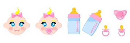 Set of child faces icons, baby bottles with milk, pacifiers baby dummies,nipple thermometer,nibbler. Girl with dummy. Icon isolated on white background. Vector illustration. Cartoon flat style.