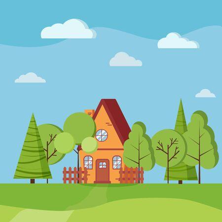 Scène de nature paysage d'été ou de printemps avec maison de campagne avec clôtures, arbres verts, épicéas, nuages, route dans un style plat de dessin animé. Illustration de fond de vecteur. Vecteurs