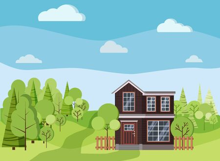 Summer or spring background landscape with two-storied house with fences, green trees, spruces, clouds, road in cartoon flat style. Vector illustration. Vecteurs