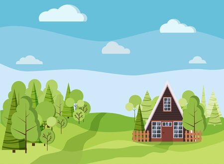Summer or spring landscape with a-frame house with fences, green trees, spruces, clouds, road in flat cartoon style. Vector summer scene illustration.