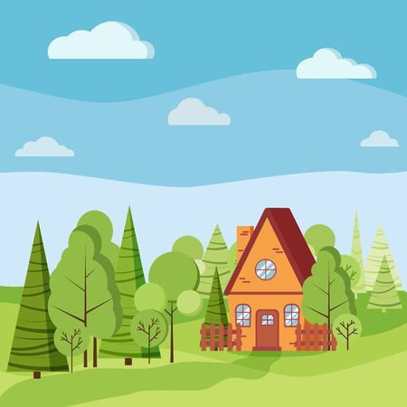 Summer or spring landscape with country house with fences, green trees, spruces, clouds, road in flat cartoon style. Vector background illustration. Vecteurs