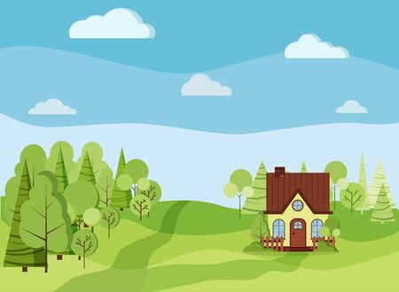 Summer spring green landscape background with country rural farm house with chimney and attic, green trees, spruces, fields, clouds, road in cartoon flat style. Summer nature scene vector illustration
