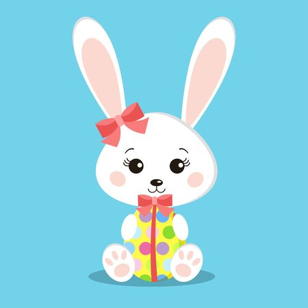 Sweet white easter rabbits girl holding gift egg. Funny hare in cartoon style. Easter Bunny flat design. Happy easter background with cute rabbit. Children vector illustration.