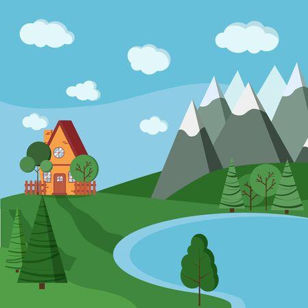 Paysage de lac d'été ou de printemps avec maison de campagne de dessin animé avec clôtures, arbres verts, épicéa, nuages, route, montagnes dans un style plat de dessin animé. Illustration de fond de vecteur. Vecteurs