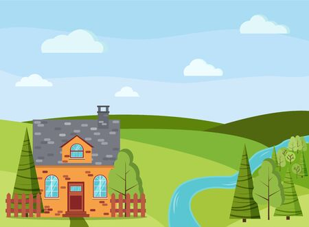 Spring or summer cartoon landscape scene with country brick farm house, green trees, spruces, river, fields, clouds in flat style. Summer nature scene vector background illustration.