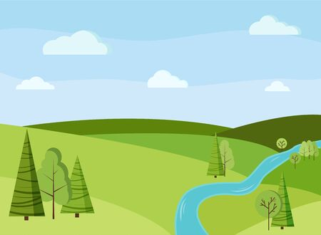 Beau fond de paysage de champ de printemps ou d'été avec des arbres verts, des épinettes, des champs, une rivière, des nuages dans un style plat de dessin animé. Illustration de fond nature vectorielle. Vecteurs
