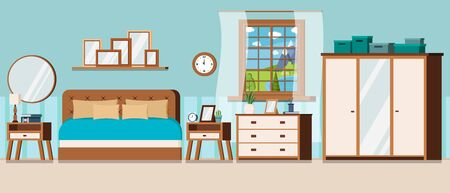 Bedroom with window view of summer day landscape with blue lake and furniture: wardrobe with mirror, bed, nightstand, chest of drawers, watch, alarm clock, lamp. Cartoon flat style vector illustration