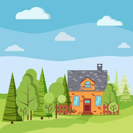 Spring or summer landscape with country brick farm house, green trees, spruces, road, clouds in flat cartoon style. Summer nature scene vector background illustration.