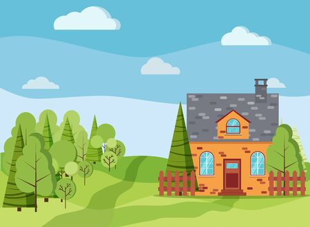 Spring or summer landscape with country brick farm house, green trees, spruces, fields, clouds in cartoon flat style. Summer scene vector background illustration. Vecteurs