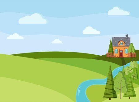 Paysage de printemps ou d'été avec ferme de campagne, arbres verts, épicéas, champs, nuages dans un style cartoon plat. Illustration de fond de vecteur de scène de nature d'été. Vecteurs