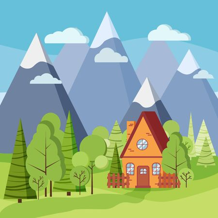Spring or summer landscape with country house, green trees, spruces, fields, clouds, mountains in flat cartoon style. Summer scene vector background illustration. Vecteurs