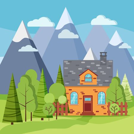 Spring or summer mountain landscape scene with brick farm house, green trees, spruces, clouds, mountains, road in flat cartoon style. Summer vector background illustration.