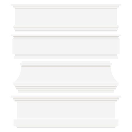 Set of white plastic or wood baseboards isolated on white background. Architectural elements for interior wall design. Vector flat style illustration. Moldings of various shapes collection. Ilustração