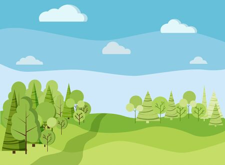 Beautiaful spring or summer landscape background with green trees, spruces, fields, road, clouds in cartoon flat style. Vector background illustration.