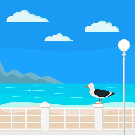 Illustration blue sea with quay, mountains, clouds, palms, street lantern, seagull on the parapet, sand - beach summer background. Beautiful seacoast backdrop. Vector flat design cartoon style banner.