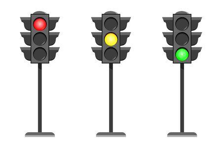 Icone dell'interfaccia del semaforo di concetto di vettore. Tipici segnali stradali orizzontali con rosso no, stop, giallo aspetta e verde sì, vai leggero. Insieme dell'illustrazione di design piatto isolato su sfondo bianco