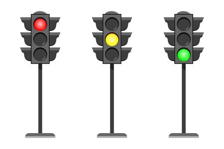 Vector concept traffic light interface icons. Typical horizontal traffic signals with red no, stop , yellow wait and green yes, go light. Flat design illustration set isolated on white background