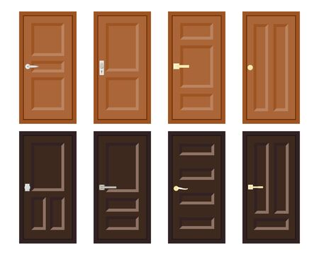 Vector flat design house door set. Collection of various type doors icon. Entry or inside room office door. Entrance doors isolated on white backgroud. Element of interior or exterior building design.