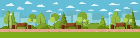 Vector flat design illustration. Summer city park day background in cartoon style. Wooden bench, lamp, waste bin with tree and bushes, footpath, clouds in the park and city view background banner.