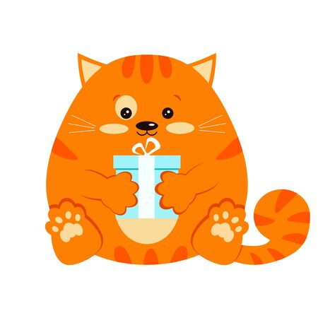 Cartoon style vector character clip art illustration. Sweet, funny and cute fat red smiling little ginger striped cat with blue present gift in paw flat design icon isolated on white background.