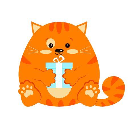 Ilustración de arte de clip de personaje de vector de estilo de dibujos animados. Dulce, divertido y lindo gatito rayado de jengibre rojo sonriente gordo con regalo azul presente en icono de diseño plano de pata aislado sobre fondo blanco.