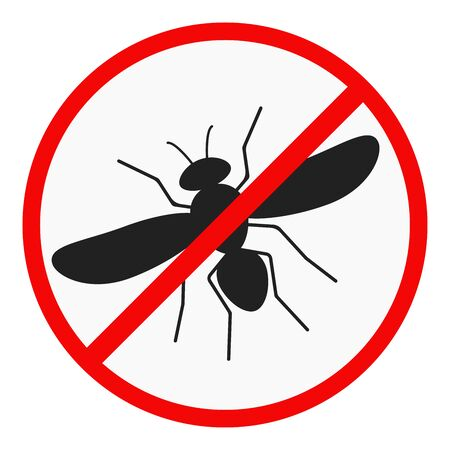 No mosquito flat design icon isolated on white background. Malaria warning vector illustration. Simple black sign of a bloodsucking mosquito in a red crossed out circle. Insect control symbol.