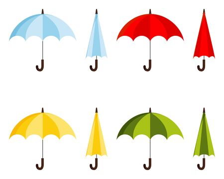 Set of colored flat design vector illustration of classic elegant opened and closed blue, red, yellow, green umbrella cane icon isolated on white background. Fashion autumn woman accessory sign.