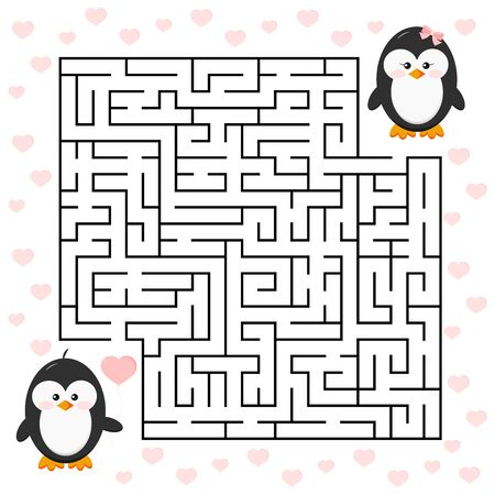 Love maze game for kids education. Cartoon penguin boy with heart shape ballon and girl. Help cute bird to find right his friend penguin girl in labyrinth Vector illustration in cartoon flat style.