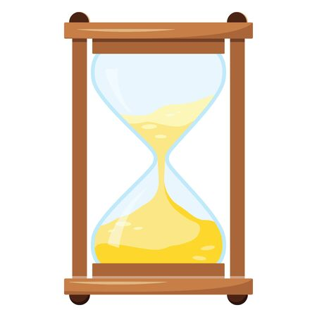 Vector illustration of hourglass or sandglass isolated on white background. Flat style cartoon design colored time icon.