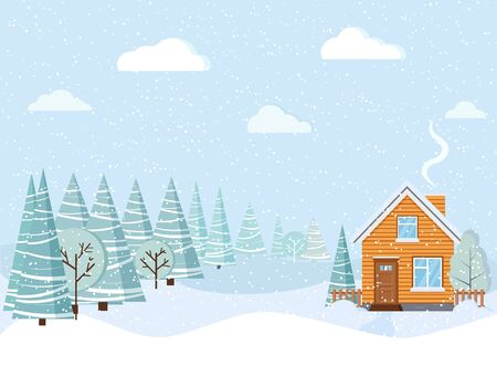 Light blue beautiful winter landscape with country house with chimney, snowy fields, winter trees, spruces, clouds, snow in cartoon style. Christmas vector background illustration. Flat design. Illusztráció