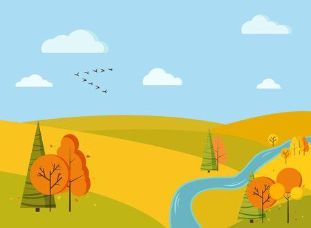 Fond de paysage de champ pittoresque d'automne avec des arbres jaunes et oranges, des épinettes, des champs, une rivière, des nuages, un coin de grue d'oiseaux en style cartoon. Illustration de fond nature design plat vecteur mignon.
