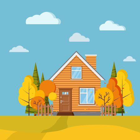 Fond de paysage de champ pittoresque d'automne avec des arbres jaunes et oranges, des épicéas, des clôtures, une maison de dessin animé rural avec cheminée en style dessin animé. Illustration de fond nature design plat vecteur mignon.